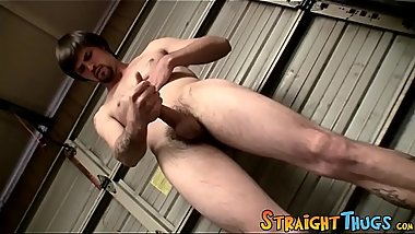 Handsome deviant pees over himself before masturbating solo