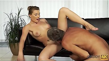 DADDY4K. Dad fucks son&#039_s beautiful mistress Victoria Daniels on couch