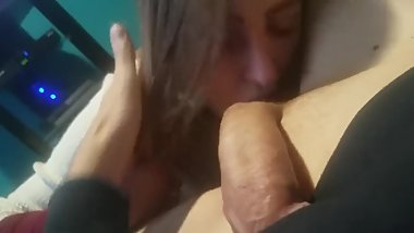 Amateur Teen giving BJ and anus licking