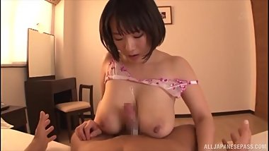 Cute Asian Kaho Shibuya gives POV suck job and titjob till cumshot