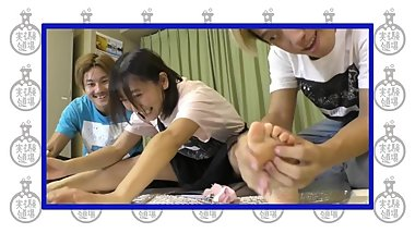 Cute Japanese youtube girl soles of feet tickled by male friends