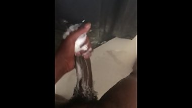 Beating my hard cock in the shower part 2