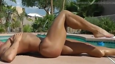 FBB Flexing and Posing Topless Poolside