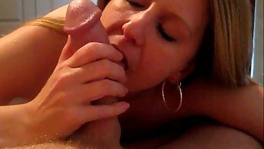 Foxy Blonde Sucks Big Cock