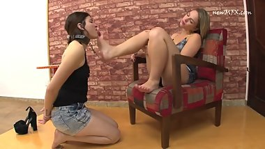 Lesbian Foot Slave on Leash