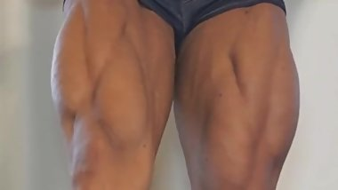 Huge FBB Flexing Her Huge Muscles
