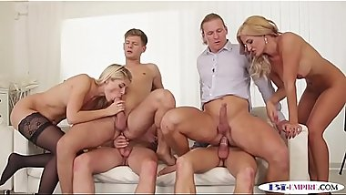 Assfucking studs slamming pussies in groupsex