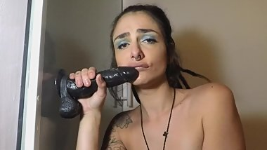 sexy slut sucks BBC dildo deepthroat and gags hard