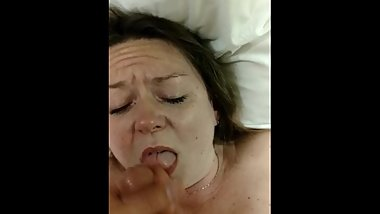 Mom takes sons cum on face