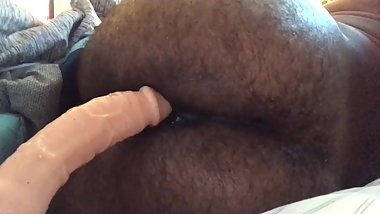 Pushing out 7 inch dildo, tight ass with cum