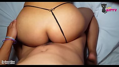 I surprise my stepbrother and he sticks my cock in my big ass