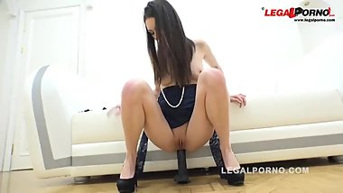 The brunette was fucked in all holes and fed with sperm