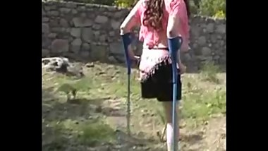 LAK Amputee Girl with Two Crutches