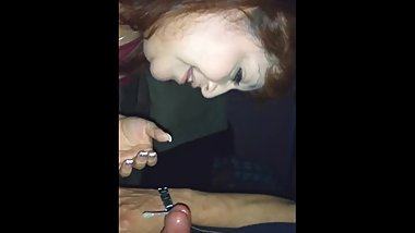 Rae Lynn blow job with a surprise cum shot