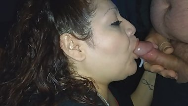 Rae Lynn slurping down the cum