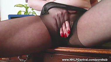 Pantyhosed horny office Milf Karina Currie fucks wet pussy with toy on desk