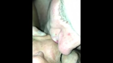 Licking my sexslave's pussy. And sloppy mouth kisses