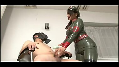 Japanese Femdom Latex queen torture and trample slave