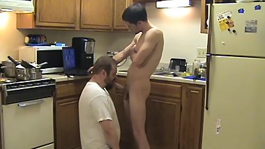 Kitchen Faggot Big Straight Thug Cock Sucked off by horny cum eating homo