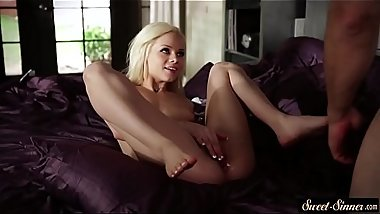 Pussylicked petite pleasured by her stepdad