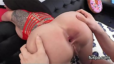 Flawless hottie exposes big fanny and gets butthole fucked