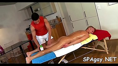 Homo man is delighting masseur'_s thick male rod