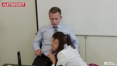Brunette Newbie Teen tricks the Academy Principal