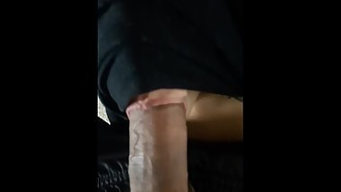 Hooded slut deepthroats my cock