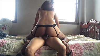 Asian Stepsister Fucking in Fishnet High Thigh Stocking (Hugh Load of Cum)