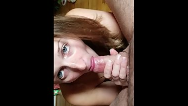 POV sucking balls and dick! Watch this dirty cum eating slut suck!