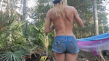 florida public blonde striptease while camping in bikini and booty shorts
