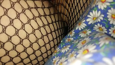 Masternating in fish net leggings