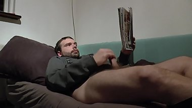 European boy masturbating to a porn magazine