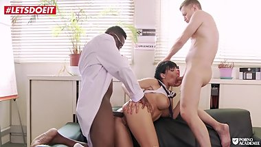 French College Girl has a Threesome with the Principal and Doctor