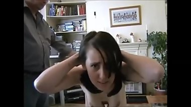 Young submissive felt up and flogged
