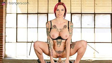 VRBangers Busty Anna Bell Peaks Fucked Hard by Her Tattooed Costumer VR