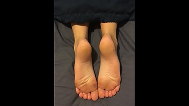 Cumming on sleeping Teen Soles. Cumshot on Soles