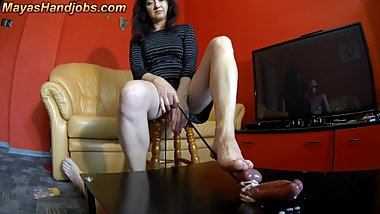 rock hard cock footjob on cockboard