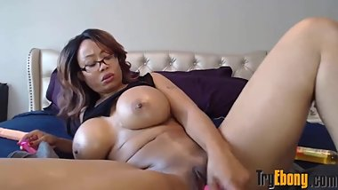 Lovely big booty black Cj with huge tits fucks creamy pussy