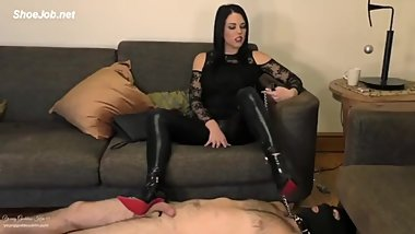 Femdom - eat your own cum of plate