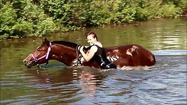 Wetlook horse riding