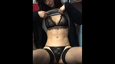 Showing Her Panties Off In A Bus