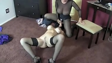 Goldie the Pantyhose Bandit Punishes Her Victim With a Strapon Fuck