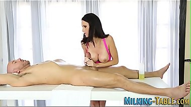 Buxom masseuse milks pole