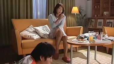 Chubby asian mature sucks gives tit fuck and rides dick wildly