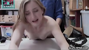 Gracie May Green blowjob the LP Officers huge cock try to fit it in her mouth!