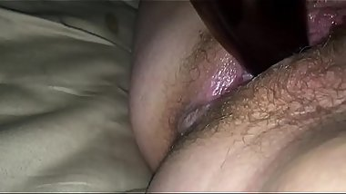 My hairy pussy fucks a beer bottle for the first time