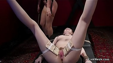 Spanked and whipped lesbian in bondage