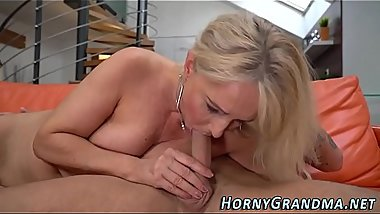 Blonde pensioner creamed