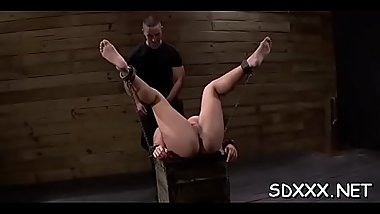 Huge cock absolutely destroys disgraced doxy in ropes